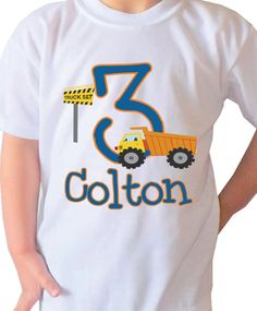 Items Similar To Truck Design Kids Birthday Shirt Personalized With Your Childs Name Clothes White T VB083 On Etsy