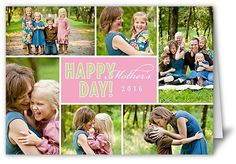 Happy Day Pink Mother's Day Card, Square Corners