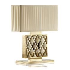 Special Order Design: Luxury Italian 24k Gold Plated Centerpiece Console Lamp * Featuring Polished Horn Diamonds * Gold Plated Brass * H: 40cm * Pleated Beige Ponge Silk Shade 32 x 12cm * Custom Electrics For Any Country * Production Lead Time: 8 - 10 Weeks * Ultra High End Italian Craftsmanship