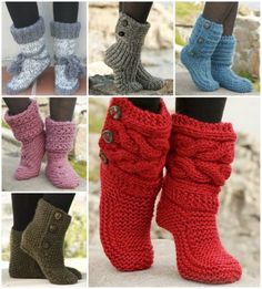 Knitted and Crochet Slipper Boots