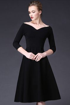 $69.99 Black V Neck 3/4 Sleeves Pleated Dressproducts_id:(1000012958 or 1000012523 or 1000012692 or 1000012436)