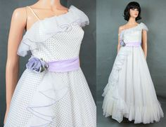 One Shoulder Prom Dress XS Vintage White Chiffon by HepCatClothes, $285.00