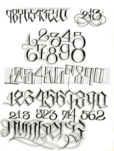 Bildergebnis für Tätowierungsnummern - New Ideas Tattoo Lettering Alphabet, Tattoo Lettering Styles, Graffiti Lettering Fonts, Chicano Lettering, Graffiti Tattoo, Graffiti Alphabet, Script Lettering, Number Typography, Numbers Tattoo