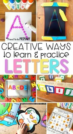 Preschool and kindergarten children will enjoy these fun creative ways to learn and practice the alphabet The literacy activities include letter songs games books tracing crafts and FREE printable resources to build letter identification and phonics Preschool Letters, Preschool Lessons, Preschool Classroom, In Kindergarten, Classroom Resources, Preschool Learning Centers, Kindergarten Literacy Activities, Letter Recognition Kindergarten, Teaching Resources