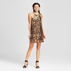 Women's Sequin Halter Trapeze Dress - Le Kate (Juniors') Gold S Party Dresses For Women, Formal Dresses, Nye Dresses, New Years Eve Dresses, Target Style, Dresses Online, Sequins, Clothes, Gold