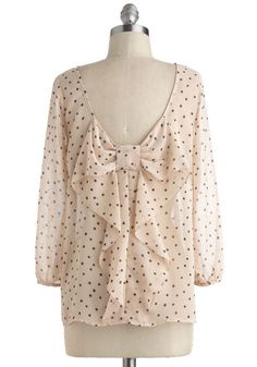Flash Fête Top in Dots. When you styled this cream blouse with tiny black dots this morning, you never suspected it would become party apparel! #cream #modcloth