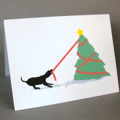 Holiday Cards Pack of 4  Dog Tugging on Christmas Tree by doggydesign