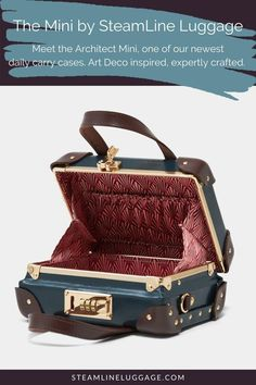 The SteamLine Mini Convertible Crossbody Purse | The Mini is SteamLine Luggage's first-ever accessory case designed for daily adventures. With the Mini, daily tasks are elevated to make a SteamLine statement with our beautifully designed crossbody purse. Protect your daily carry items & show off retro fashion vibes. Whether you use the Mini solo or with matching travel bags, this bag is sure to be your new BFF. | Purses and Handbags, Cute Purses | #vintageoutfits #retrofashion #cutebags Retro Fashion, Vintage Fashion, Luggage Accessories, Vintage Luggage, Mini Purse, Gifts For Wife, Travel Bags, Vintage Art, Art Deco
