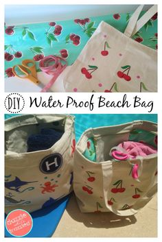 How to DIY waterproof swim and beach bags using a canvas tote and oilcloth fabric for an easy sewing craft. Perfect for summer and kids. via @https://www.pinterest.com/dazzlefrazzled/