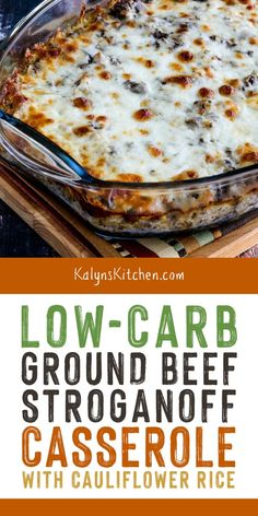 This amazing Low-Carb Ground Beef Stroganoff Casserole with Cauliflower Rice has all the good flavors people love in Beef Stroganoff without most of the carbs This is a dinner the whole family will love found on width Keto Foods, Ketogenic Recipes, Healthy Recipes, Keto Meal, Keto Snacks, Ketogenic Diet, Ground Beef Stroganoff, Low Carb Casseroles, Carne Picada