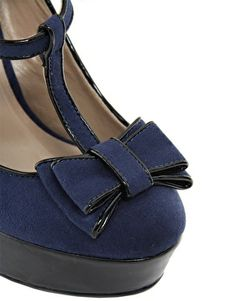 Heels with Bows On Front | Image 2 of New Look Tar Navy Bow Front MaryJane Platform Shoes