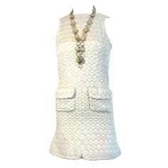 love...; Vintage Jean Patou 1960's early Karl Lagerfeld dress, cropped jacket necklace set...; Fabric base color in gorgeous pale Turquoise, ivory puckered jacquard & finely outlined in metallic silver..., made in France