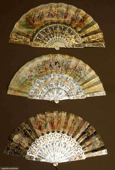 Augusta Auctions, April 17, 2013 - NYC: Three Paper Leaf Fans, Mid 19th C