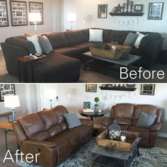 I am LOVING the hashtag #beforeandafterhomeedition! I can't believe some of the amazing room transformations out there...thanks for the inspiration! So this is just a look at how swapping the furniture from downstairs changed the look in our loft.