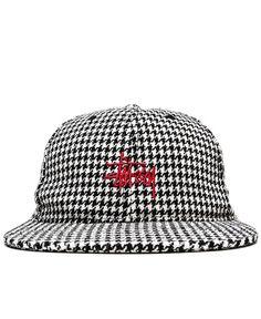 c79e35cf4f0 STUSSY - HOUNDSTOOTH STRAPBACK CAP (BLACK)