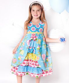 Take a look at this Teal & Pink Up Up Away Hanna Dress - Infant, Toddler & Girls by Jelly the Pug on #zulily today!