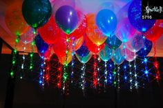 Balloons with light strings and collars. Led Balloons, Balloon Lights, Light String, String Lights, Glow Sticks, Childrens Party, Bar Mitzvah, Birthday Parties, 13th Birthday