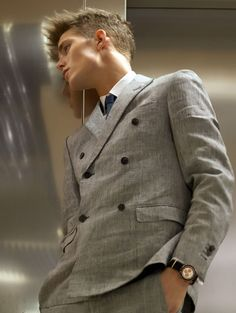 Double breasted gray suit