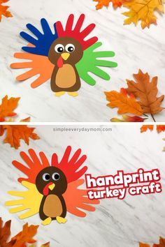 A Colorful & Cute Turkey Handprint Craft For Kids This handprint turkey craft for kids is a fun and simple Thanksgiving activity. It's great for toddlers, preschoolers and kindergarten children. It also comes with a free printable template! Arts And Crafts For Teens, Fun Crafts For Kids, Toddler Crafts, Toddler Preschool, Fall Crafts, Thanksgiving Art Projects, Thanksgiving Crafts For Toddlers, Diy Thanksgiving, Daycare Crafts