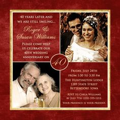 Celebrate the joy of love with 40 years of smiles photo invitation design! Share 1-2 photos of happy couple on wedding anniversary invitation, personalize