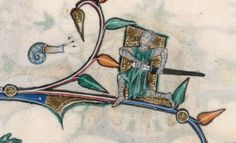 the lower marginalia of f. the snail (with three equally long tentacles) meets another knight, who is ready to grasp its sword for the attack. Snail Art, Sea Snail, Snail Shell, Medieval Manuscript, Medieval Art, Illuminated Manuscript, Doodles, 14th Century, Tentacle