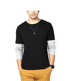 93a820e0102 Lime Round Neck Full Sleeve Black-Grey Cotton T-Shirts for Men  Amazon.in   Clothing   Accessories