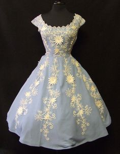1950's Organza Embroidered Dress