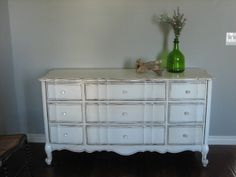 European Paint Finishes: ~ Antique White Dresser ~ Close to my actual dresser