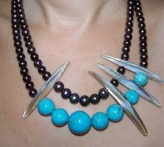 Turquoise and pearls.