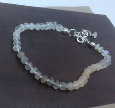 Hand Knotted Rainbow Moonstone  Bracelet June by MingJewelsChic