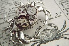 Steampunk Pin Silver Crab Brooch Vintage Movement Rustic