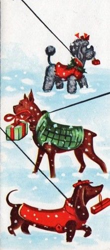 Vintage Christmas card with dog illustration - including a Dachshund in a red sweater