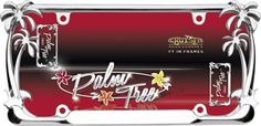 •Tropical dream! A chrome frame featuring two palm trees on each side of the frame. Die cast metal is chrome plated and carefully hand polished. Designed to fit all novelty/license plates. Easy to install.