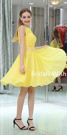 Yellow Chiffon A-line Sleeveless Beaded Homecoming Dresses, – ChicSew Casual Homecoming Dresses, Winter Formal Dresses, Elegant Bridesmaid Dresses, Wedding Party Dresses, Casual Dresses, Short Dresses, Girls Dresses, Chiffon Dresses, Party Gowns