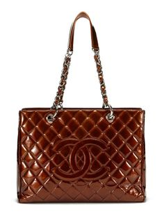 Bronze Quilted Patent Leather Grand Shopper Tote Bag