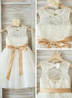 A-Line/Princess Scoop Neck Knee-length Sash Bow(s) Tulle Lace Sleeveless Flower Girl Dress Flower Girl Dress