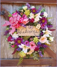 """""""WELCOME SPRING"""" X Large Silk Floral Wreath~Wood Sign~Butterfly~HOME/DOOR DECOR #Handmade"""