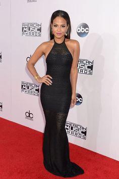 Christina Milian rocking all black and looking oh-so-sleek. #AMAs