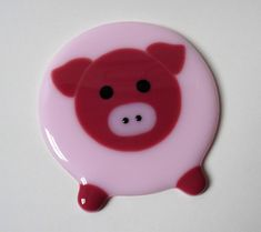 Pig coaster fused glass coaster drinks mat fused glass pig
