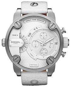 Diesel Watch, Men's White Leather Strap 51mm DZ7265