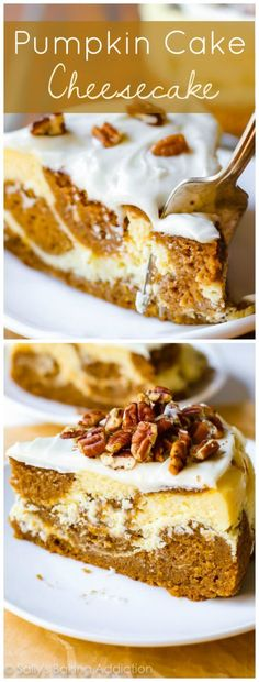 This pumpkin cake cheesecake is something every pumpkin lover should try this fall! Recipe on sallysbakingaddiction.com