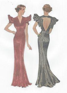 1939 Vintage Schnittmuster B36 Abendkleid (R955) in Bastel- & Künstlerbedarf, Nähen, Schnittmuster | eBay!