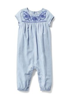 Embroidered Chambray One-Piece | Old Navy