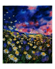 Daisies and cornflowers Giclee Print by Pol Ledent at Art.com