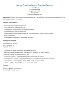 Sample Protective Security Specialist Resume  Physical Security Specialist Resume