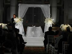 Chuppah, orchids, floating orchids, crystals