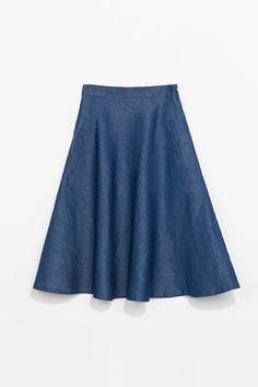 Zara Denim Midi Skirt, $49.90; zara.com   - ELLE.com