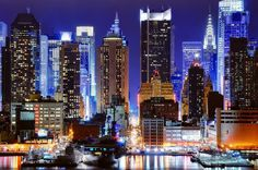 Urban Design: Panoramic Photograph of 45th Street In New York City (Manhattan).  --The lighting is amazing and alluring.