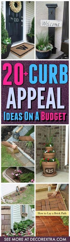 Curb Appeal Ideas On a Budget. Today we present you one collection of 20+ Easy and Cheap DIY Curb Appeal Ideasto Add Curb Appeal.First impressions matter.There are a lot of easy and cheap ways to increase your home's curb appeal.Give your house a facelift! Formore inspiration, see our posts on 20+ Amazing DIY Backyard Ideas …