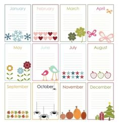 Free Printable Perpetual Calendars-the birthday calendar came together very nicely To Do Planner, Planner Pages, Printable Planner, Happy Planner, Planner Stickers, Free Printables, Printable Calendars, Calendar Templates, Monthly Planner